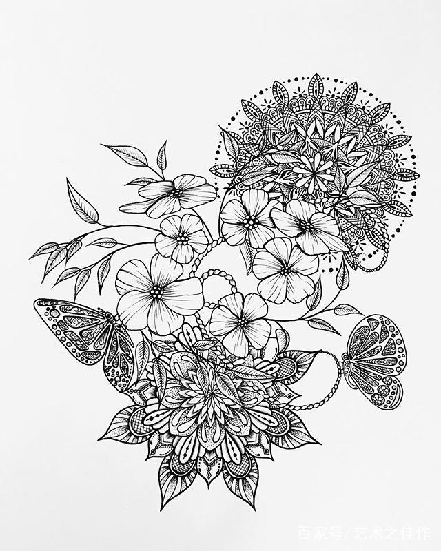 手绘黑白花卉插画,清新画风真好看