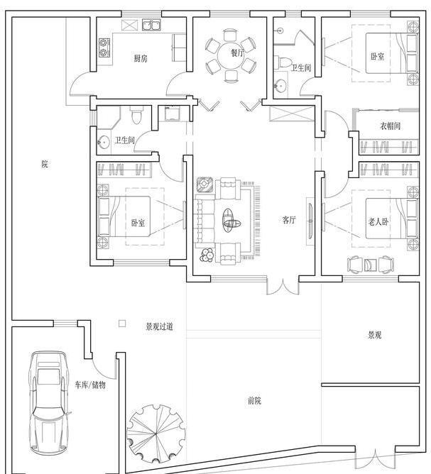 建筑的功能空间均为生活中必须的功能设计,常规的三室一厅布局.图片
