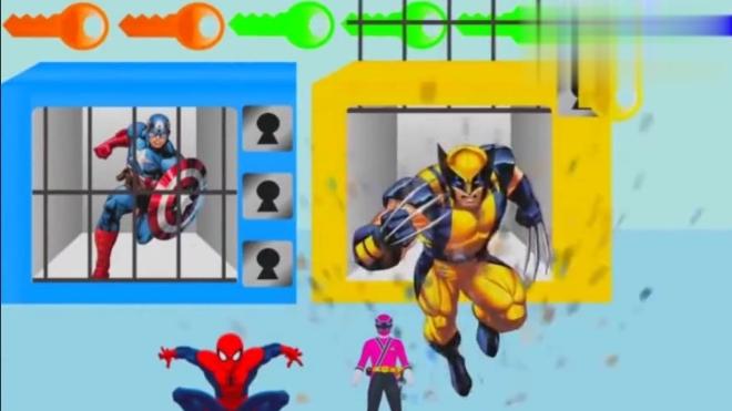 蜘蛛侠 骑士 美国队长找钥匙越狱