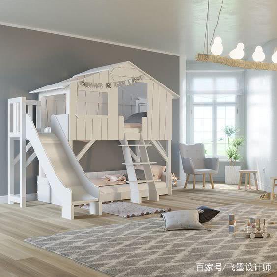 这才是儿童房的正确打开方式!如今流行滑滑梯上下床设计,新颖
