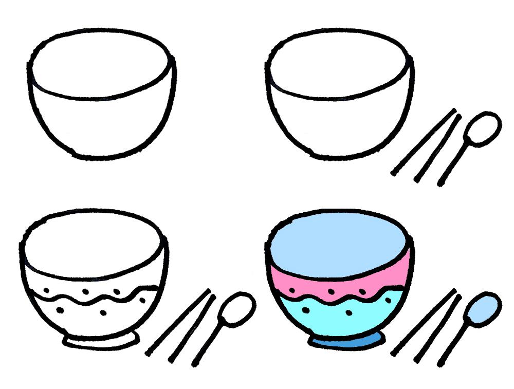 简单的生活用品儿童简笔画大全一 厨房用品系列步骤图图片