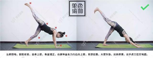倒立体式,被称为瑜伽体式之王,是因为它对于美容养颜、延缓衰老具有很大的作用。 但对于初学者而言,头倒立、手倒立等都颇具难度,那今天要给大家介绍3个初学者也能够做到的【倒立】体式,逐步建立倒立的力量。 01 下犬式 从四脚跪开始,臀部抬高,双脚踩地。背部延展,内收腹部,保持8-10次呼吸。  是的,你没有看错,下犬式也是一个倒立体式。打怪升级我们要一步步来哦~  当下犬式做好了,可以进行单腿下犬练习,一条腿向后向上抬高,保持髋部摆正,上抬的腿和背部一条直线。 02 海豚式 在下犬式的基础上,手肘着地,保持
