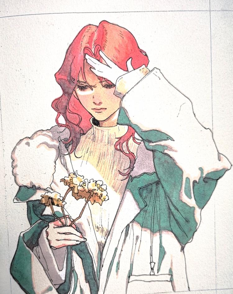 马克笔手绘,表情犀利帅气的卡通女孩