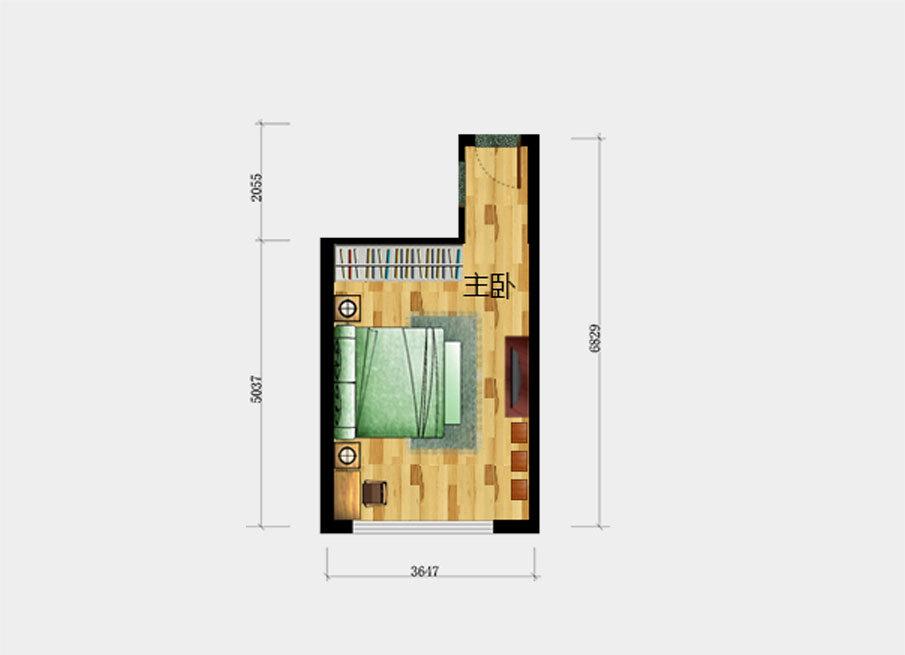 一,长方形主卧的装修效果图