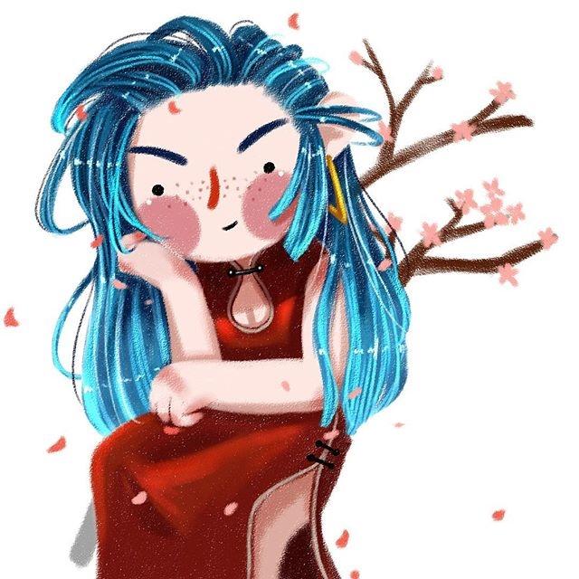 人物头像插画,可爱的小女孩,收了做头像