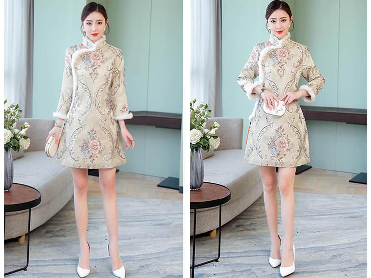 优雅的改良旗袍,唯美花纹复古柔情,本身就已经很完整惊艳