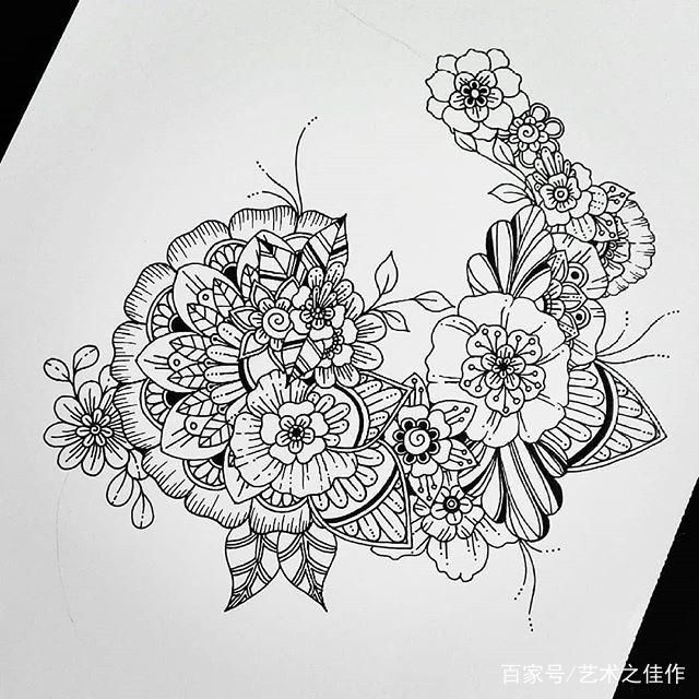 针管笔手绘,简练的画风,流畅的线条,美美的