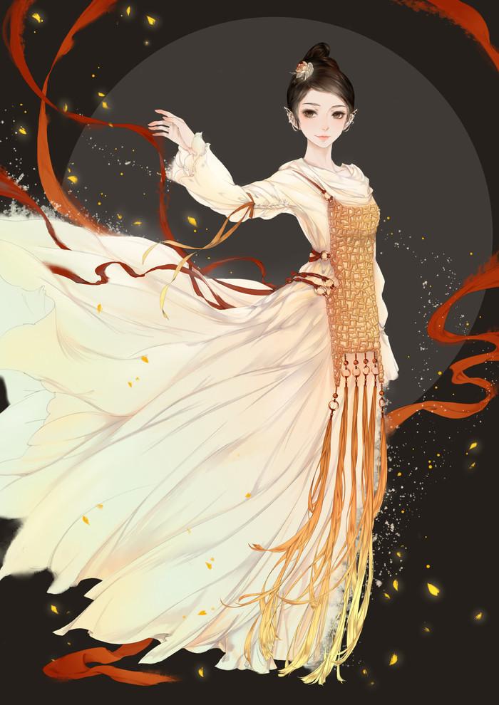 古风手绘女生唯美壁纸,对月形单望相护,只羡鸳鸯不羡