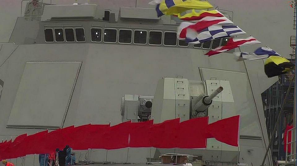 身背一个重炮营!055大驱舰首这门主炮有多猛?抬头还能打飞机