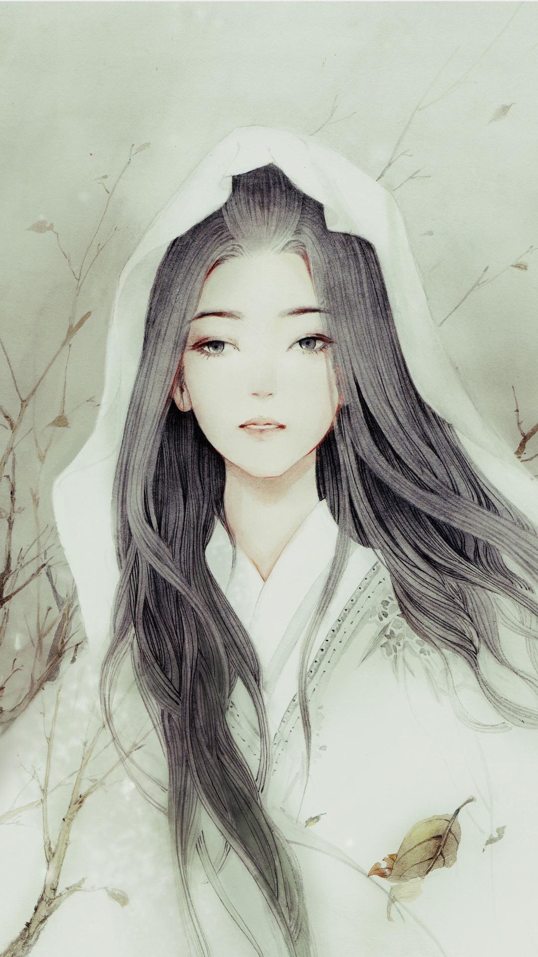 古风手绘清秀绝俗美女子壁纸,巫山的云彩消失了,留下