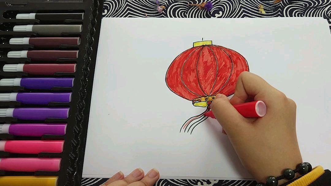 过年了,教孩子画个红灯笼,简单易学