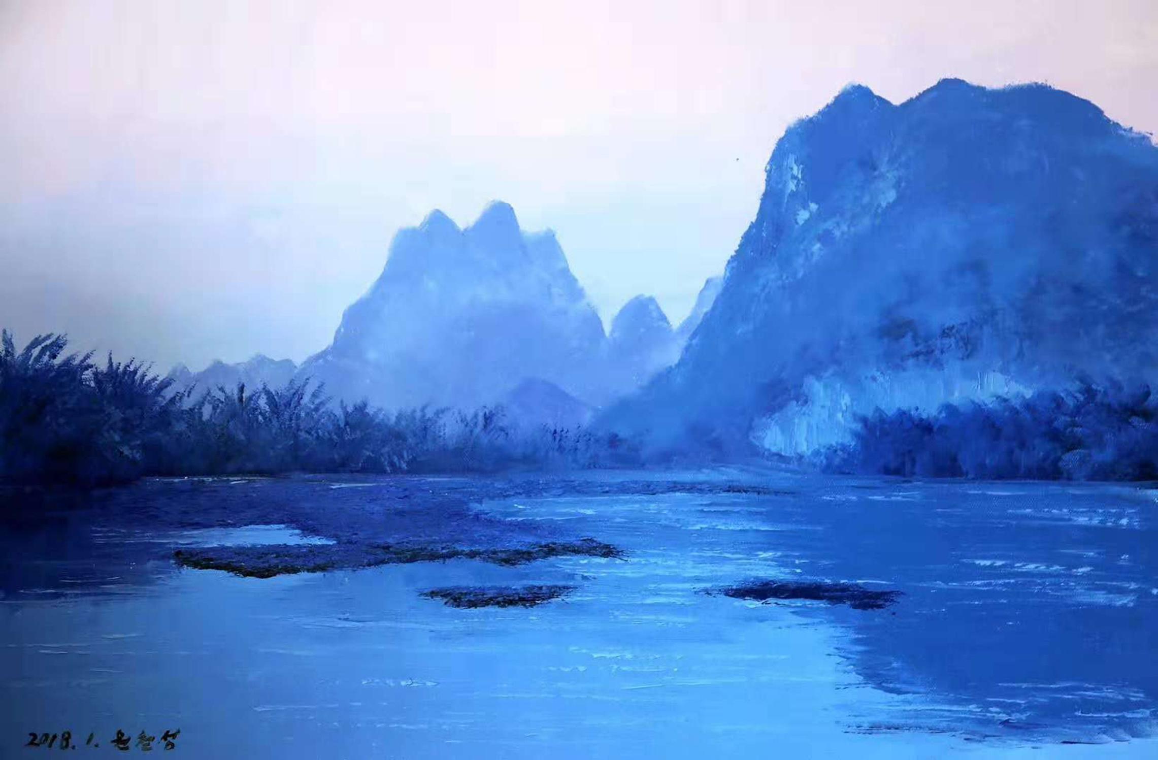 油画山水风景,72*48,元哲成