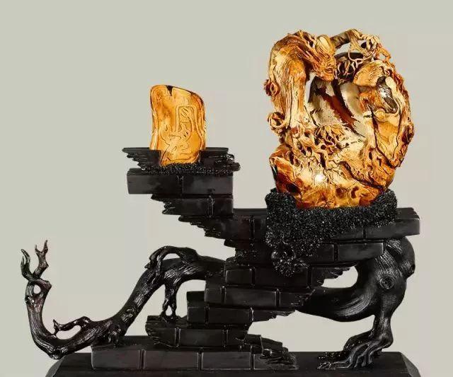 琥珀匠心杯雕刻艺术品