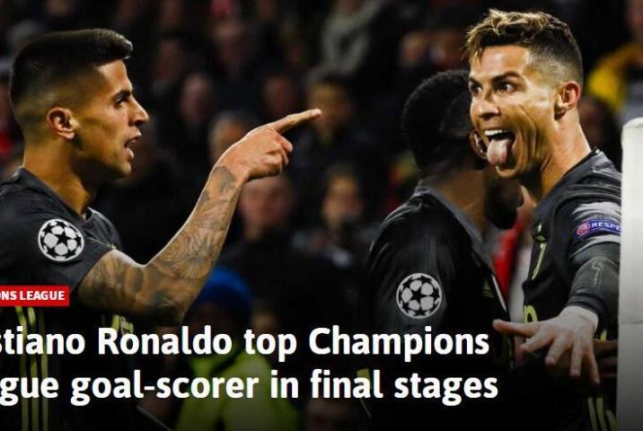 淘汰赛之王!C罗欧冠最关键3轮狂进41球 梅西排第2却不及总裁一半