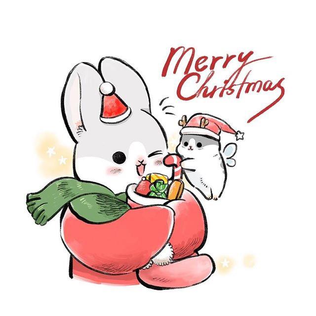 板绘动物插画,超可爱的小兔子,萌萌哒
