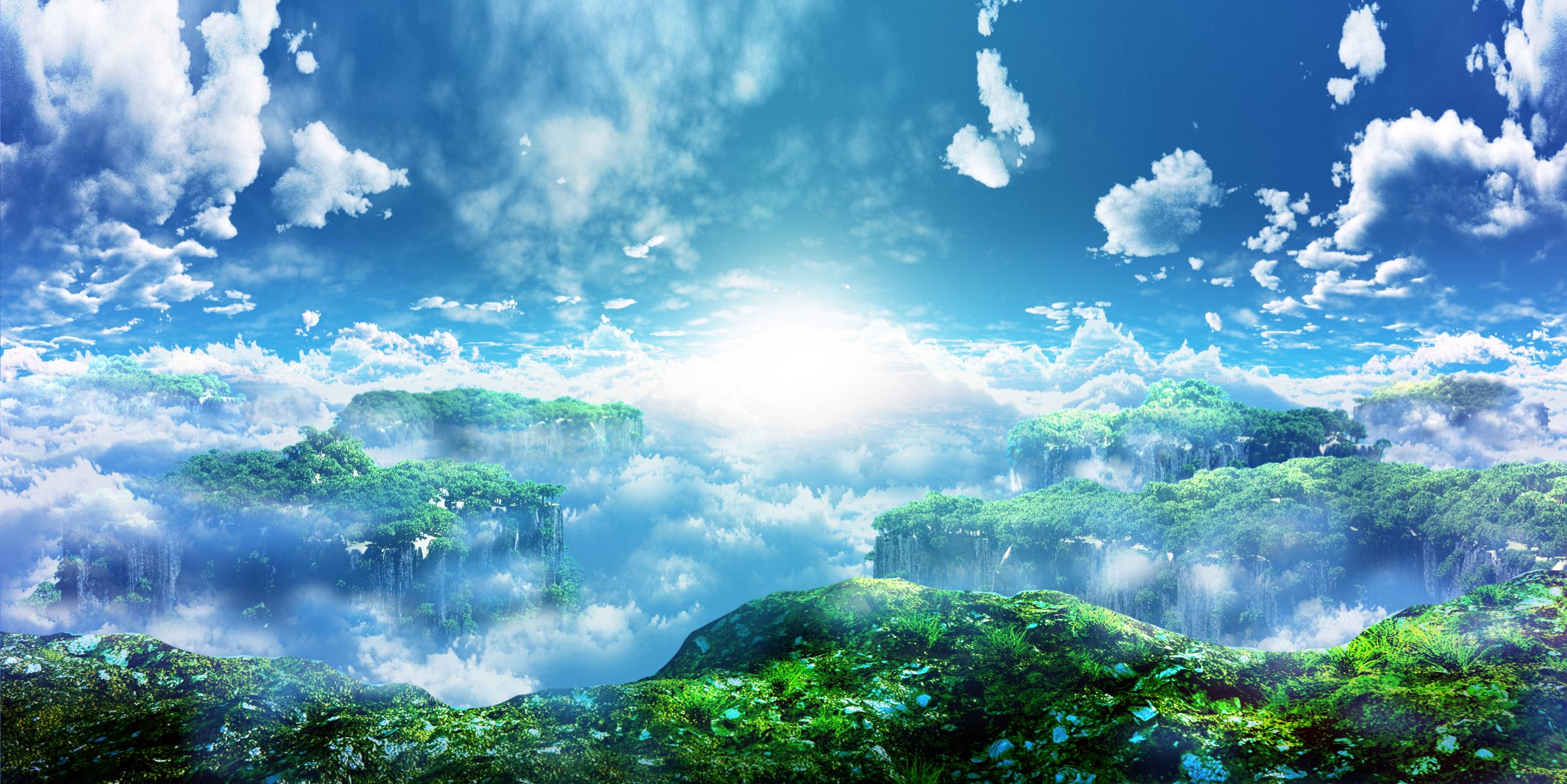 唯美风景壁纸:星芒,晚霞,仙境,爱情,二次元,总有你会