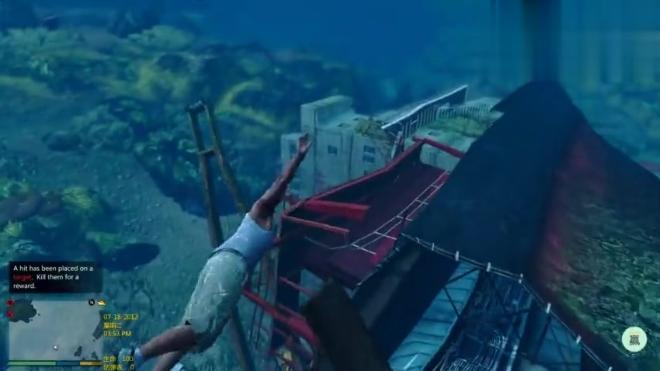 GTA5:海底里竟然有艘沉没的集装箱游轮