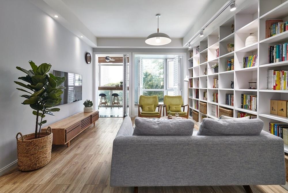 90㎡北欧风,舍弃沙发背景墙,把客厅打造成家庭图书馆,太赞了