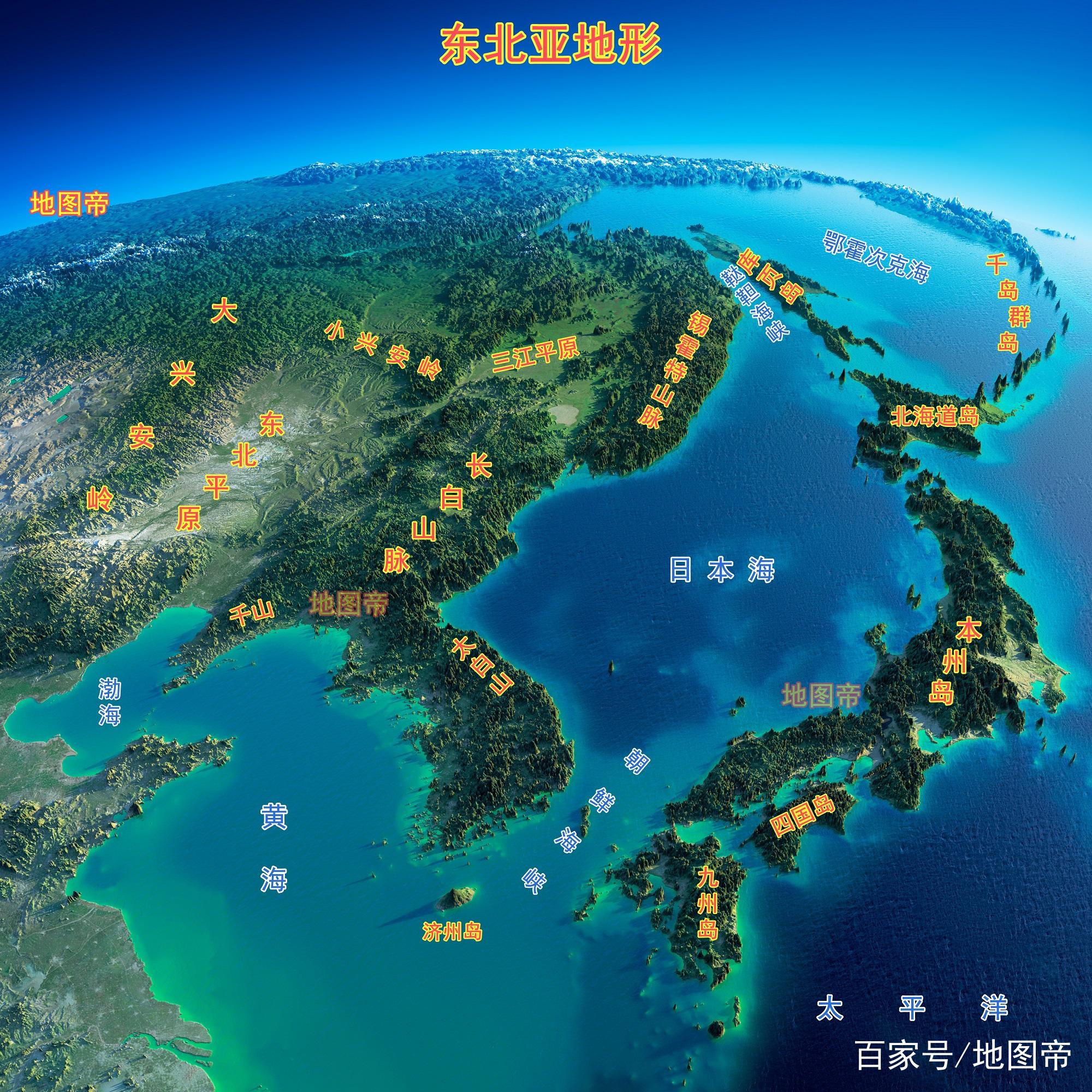 东北亚包含日本,朝鲜,韩国,也包含中国,俄罗斯,蒙古的一部分,大致是环图片
