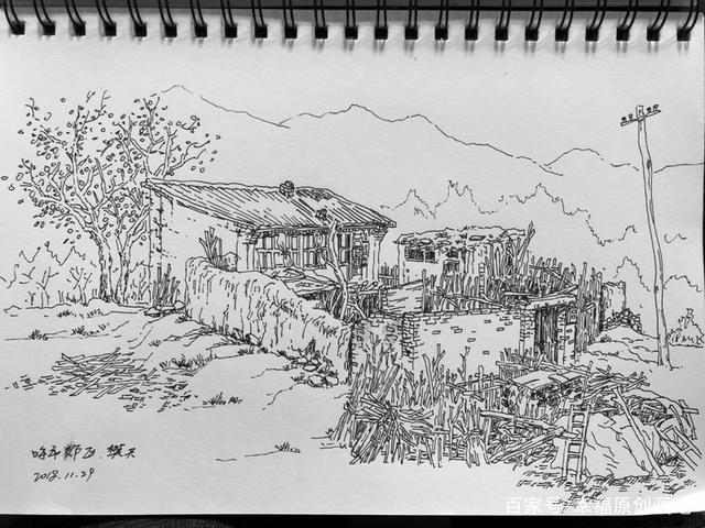 风景画炭笔素描
