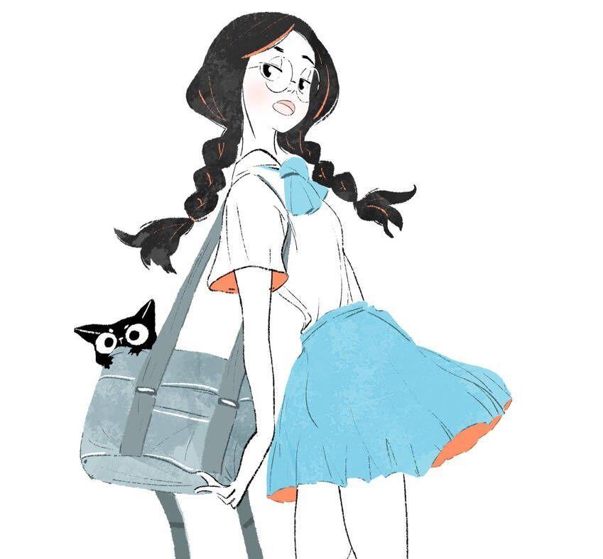 手绘人物插画,一组活力青春美少女插画
