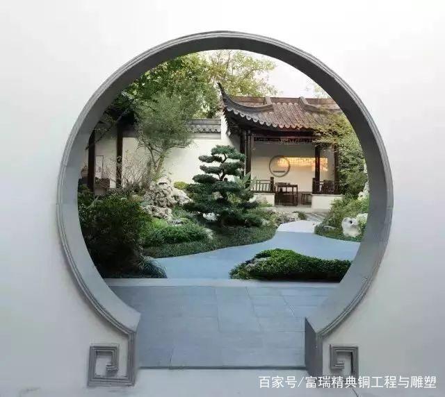 复古,中式,庭院,拱门,铜门