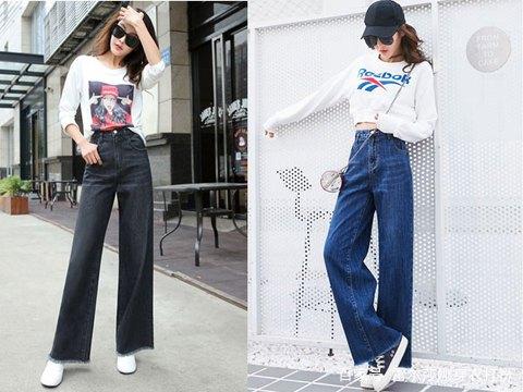 随便搭配一件针织衫就非常的出彩~ 一款很时尚的阔腿牛仔裤,轻松搭配