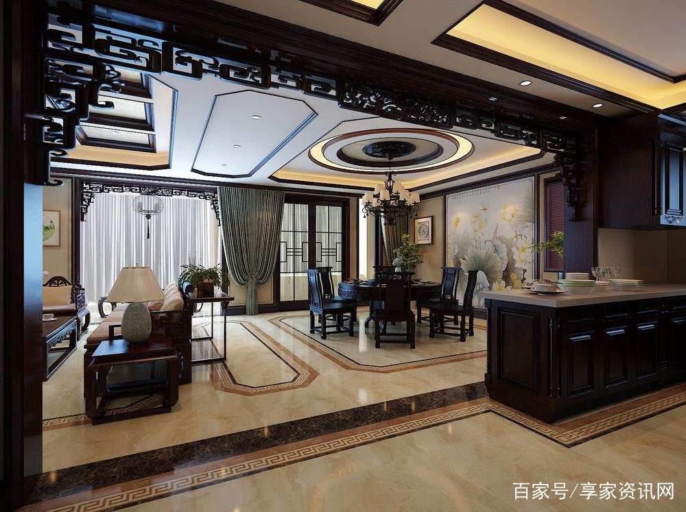 新中式风格客餐厅装修效果图