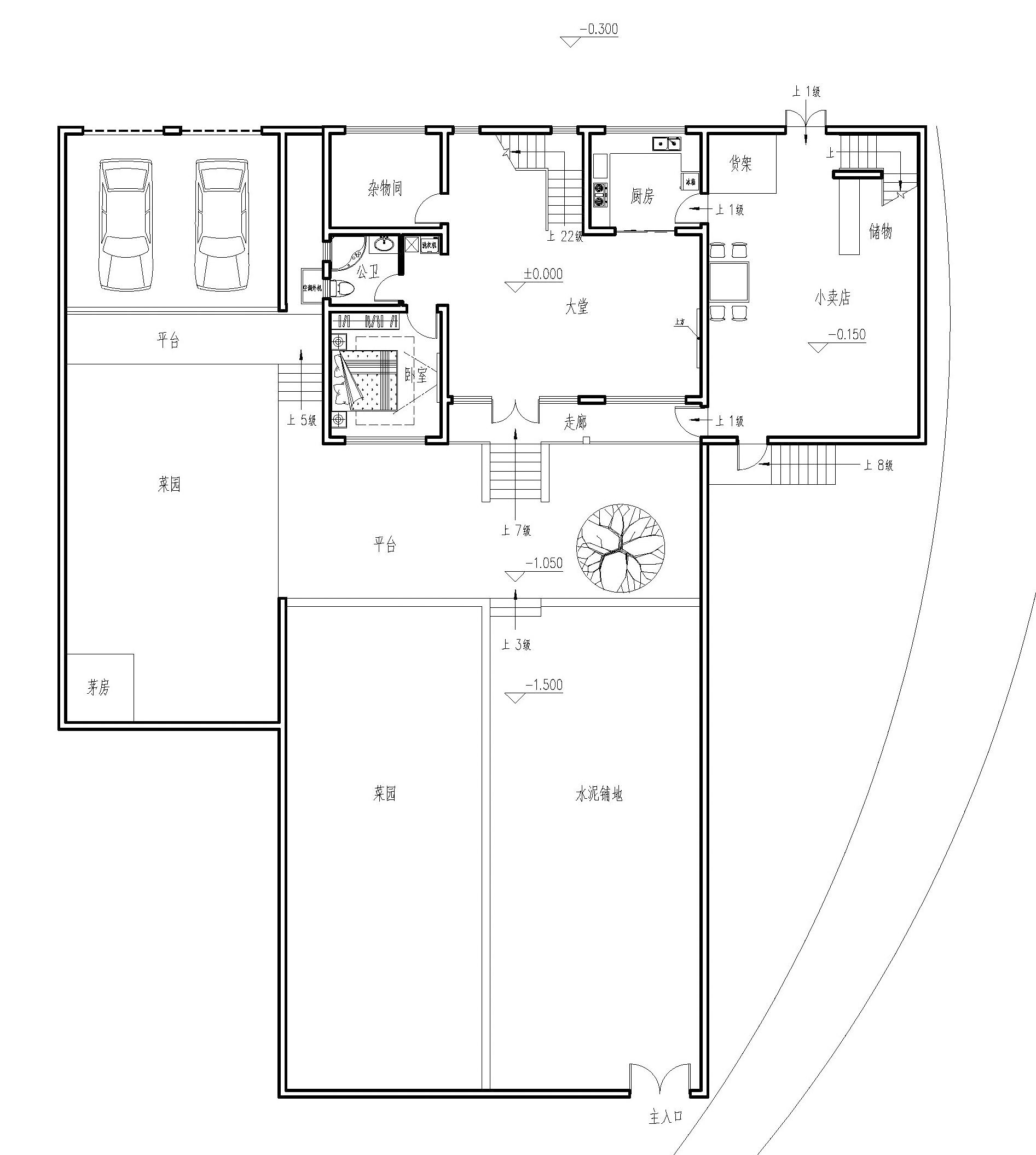 平面设计图:堂屋的设计是为了在逢年过节更好的摆桌聚餐,很符合农村