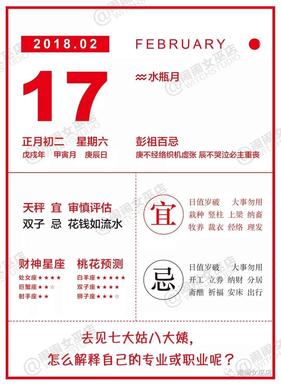 星历0217:宜写下去见七大姑八大姨时怎么解释你的专业&职业