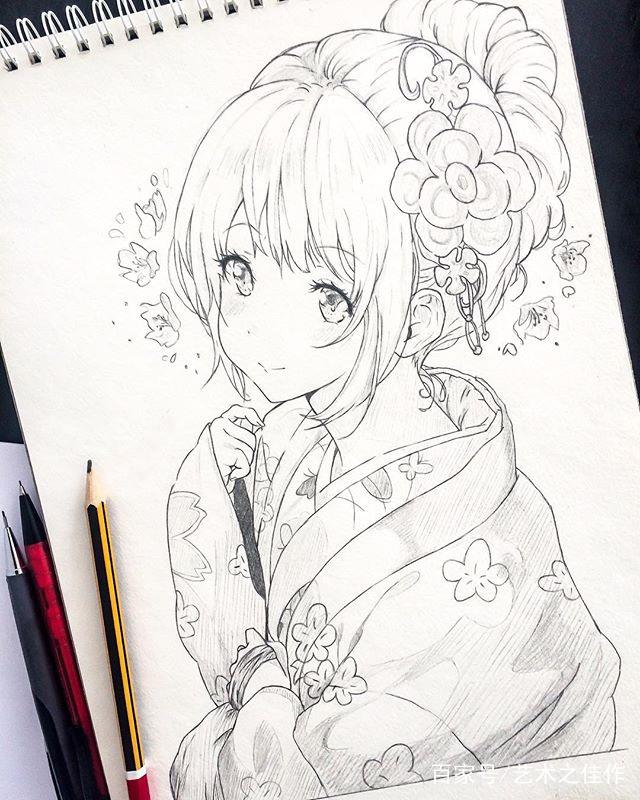 手绘动漫人物线稿,甜美可爱的女孩,好好看
