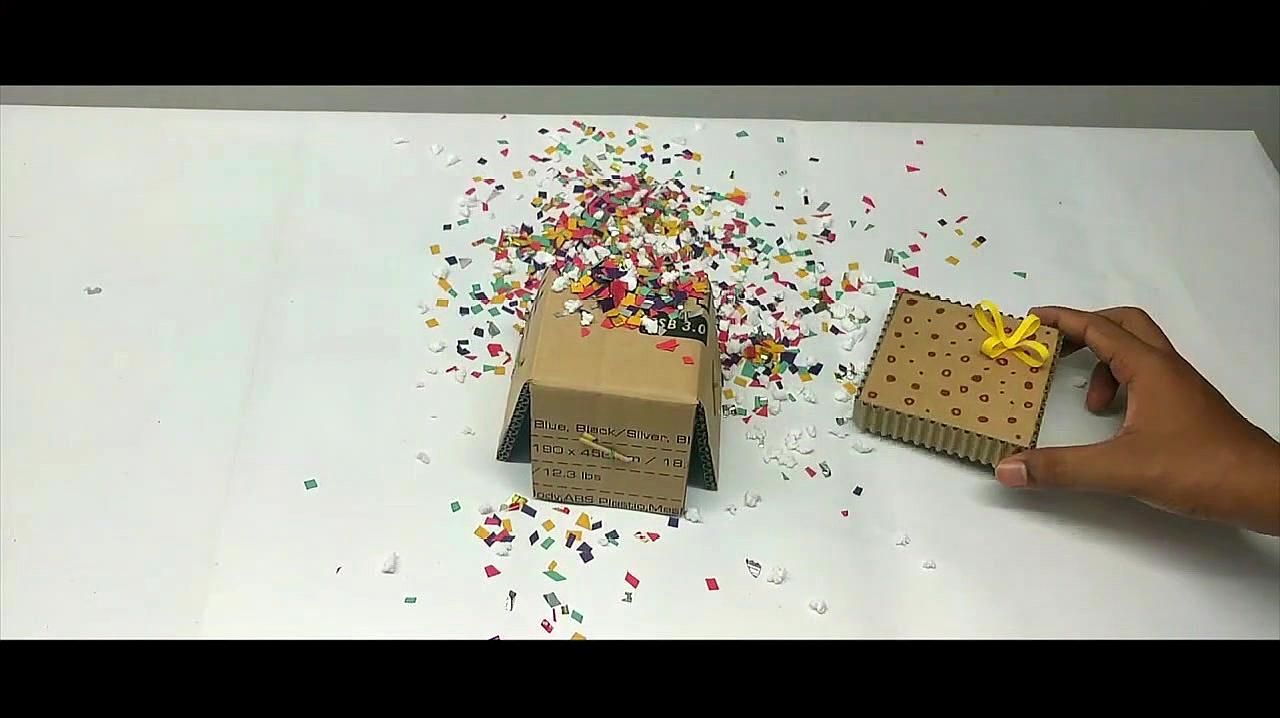 如何用纸板制作愚人节自助爆炸礼品盒,简直太有趣了!