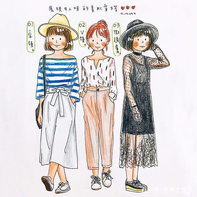 彩铅漫画女孩,超可爱的插画日常穿搭人物配色女主角图片