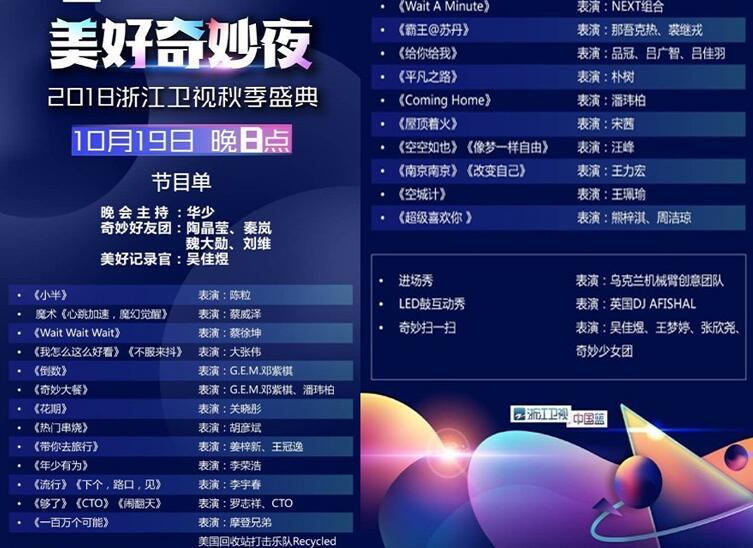 2018年浙江衛視秋季盛典節目單已出,你最期待誰的演出?圖片