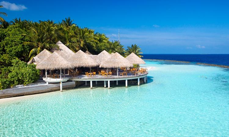 图中的海边景色景色优美,这儿的景色让人心旷神怡.