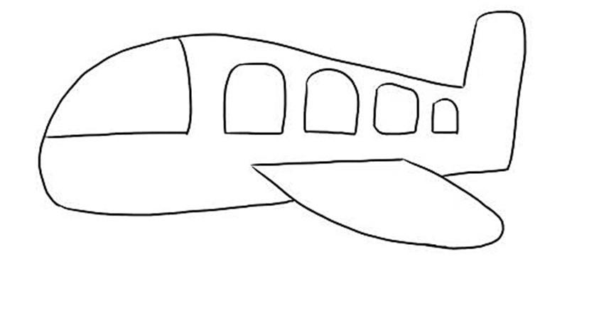 幼儿园学校简笔画:教你一种简单的大飞机画法图片