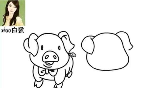 「xiao白鹭」儿童幼儿卡通简笔画 小猪简笔画卡通画 少儿美术课