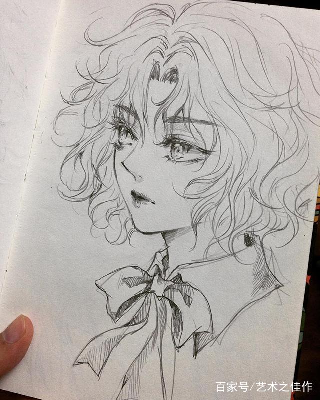 手绘人物线稿,漂亮的动漫小姐姐,好喜欢