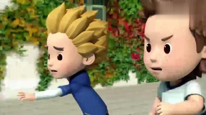 儿童动画片 变形警车珀利 脱手的球滚在马路上 凯文多奇追球