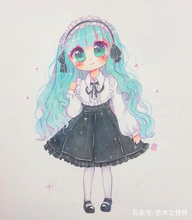 手绘人物插画,甜美可爱的卡通小女孩,好萌啊图片