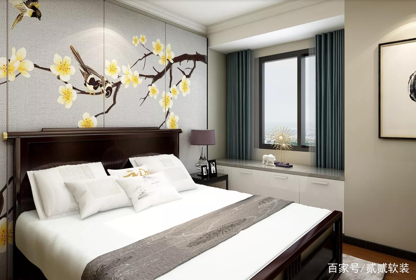 主卧效果图.床做中式造型,飘窗使用灰色安在飘窗内,非常漂亮.