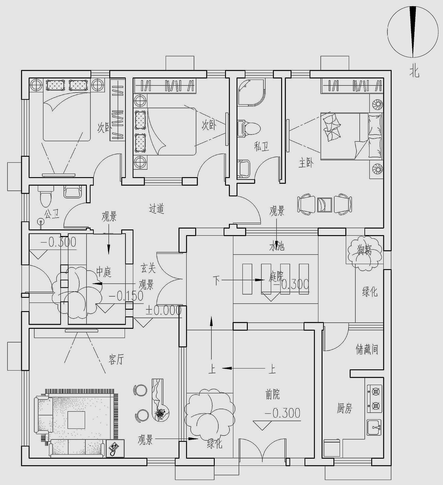 一层平面设计图:厨房,客厅,餐厅, 卧室,娱乐室.