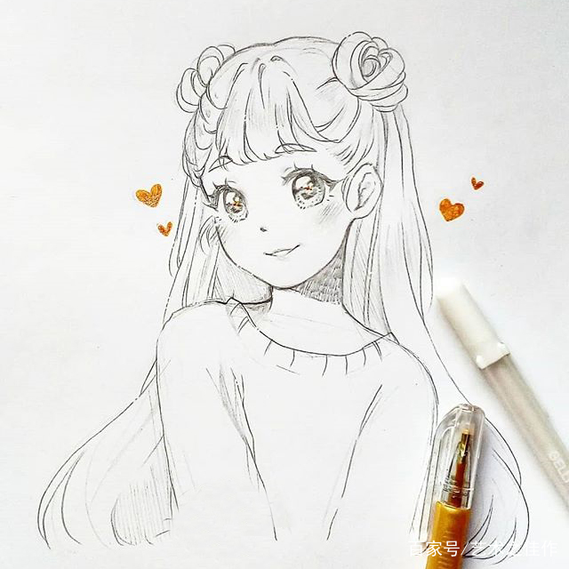 了_美少女手绘线稿,眼睛画的也太好看了吧