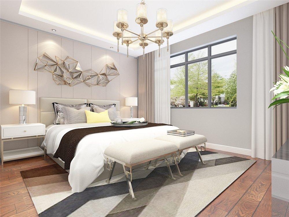 主卧床头背景墙做石膏板拉缝.