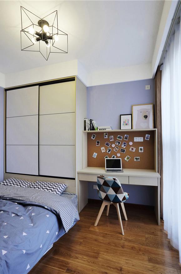 鄂旅投书院世家-67㎡-二居室-北欧风格-次卧装修效果图
