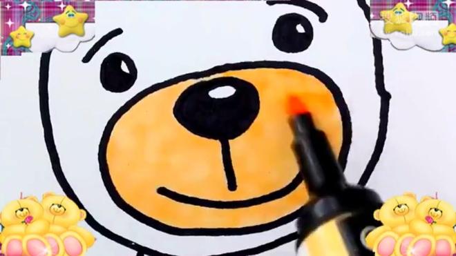 用水彩笔画毛绒玩具小兔子和小熊 爸爸梦工厂