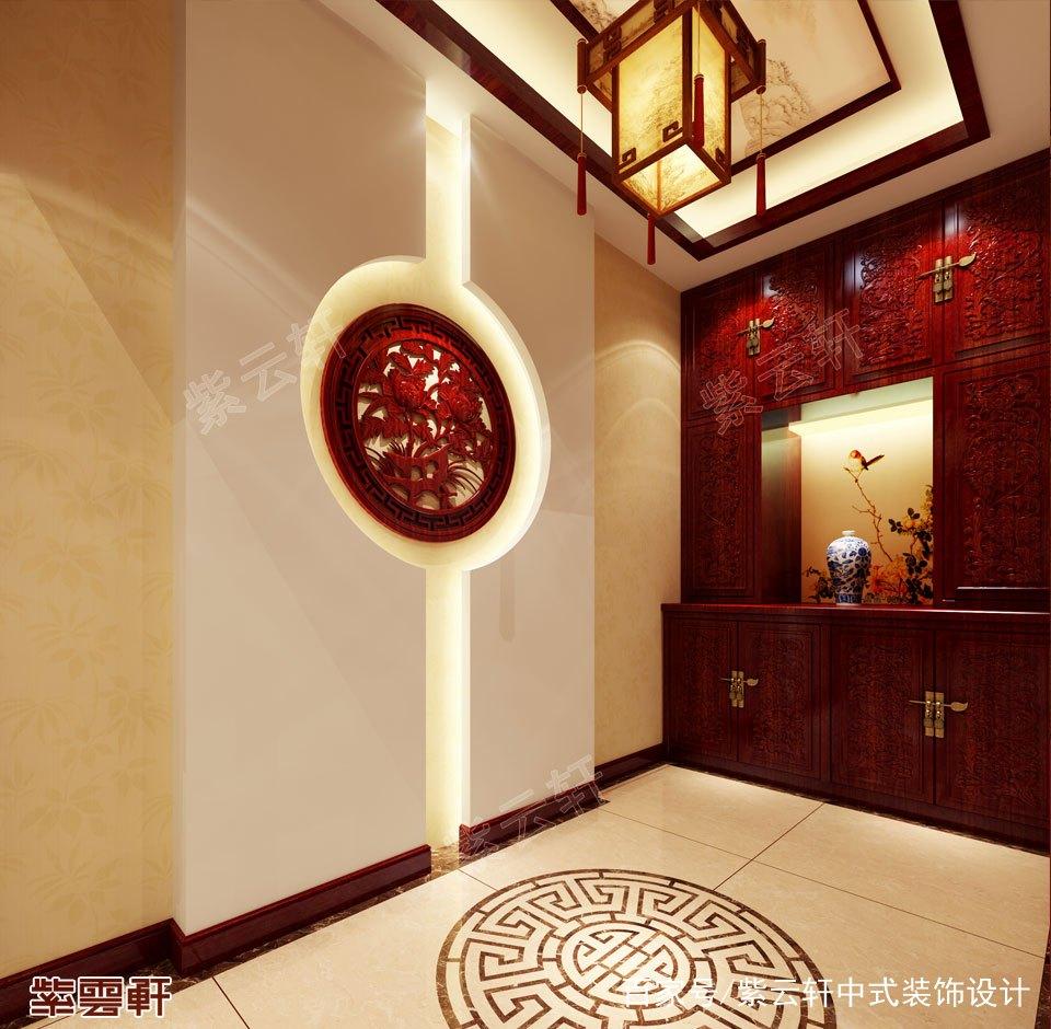中式装修玄关效果图——在房间的整体设计中,玄关是给人第一印象的