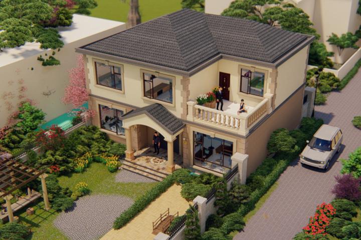 建筑为欧式风格,小小的二层别墅,特别温馨,一家人住进来非常合适,开开