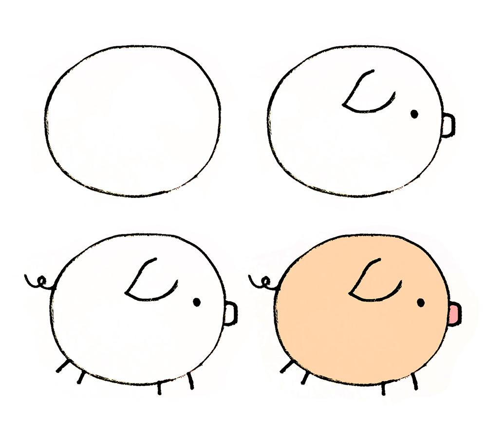 今天萌妹教大家如何画简笔画小猪,希望大家喜欢哦~~  1.画出小猪的脸部轮廓; 2.画出小猪的五官; 3.加上小猪的腿和脚; 4.涂上颜色。  1.先画出小猪身体的轮廓(一个椭圆); 2.画出小猪的五官; 3.加上小猪的腿和尾巴; 4.涂上颜色。  小猪的画法三 1.画出小猪身体的轮廓(一个椭圆); 2.