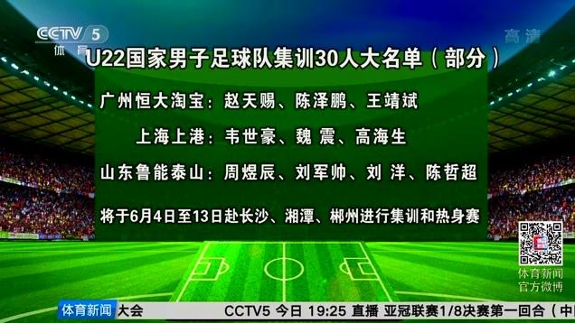 中国足协公布U22集训大名单 鲁能4人入选